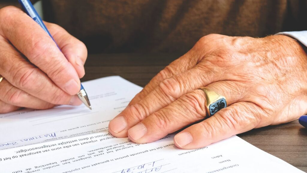 old person writing a will