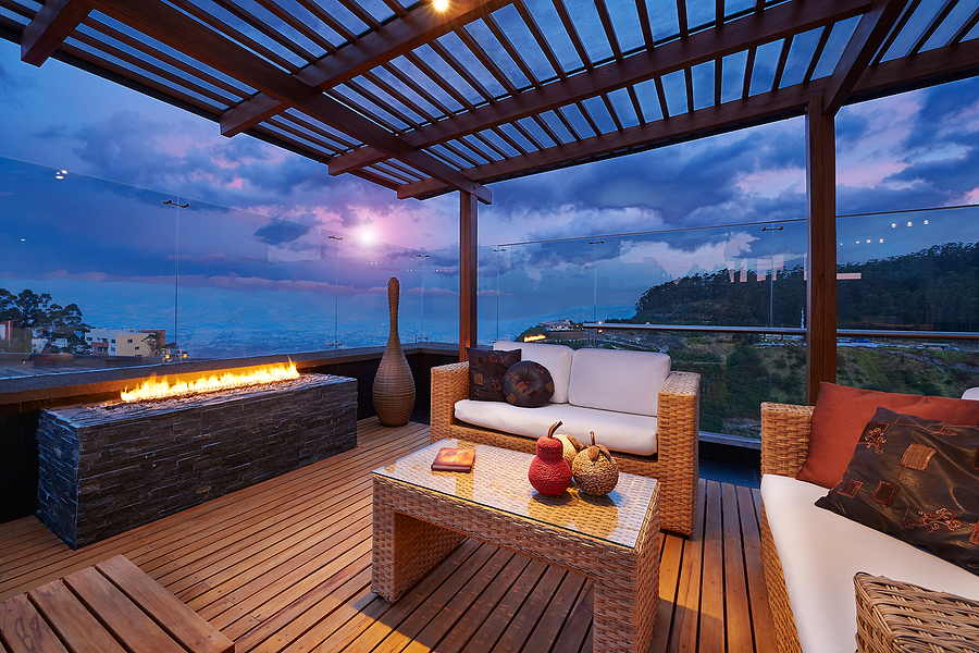 Beautiful modern terrace lounge with bamboo matting